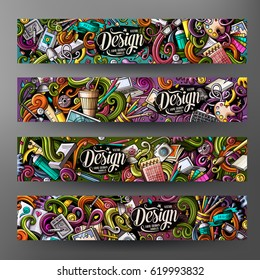 Cartoon colorful vector hand drawn doodles design artistic corporate identity. 4 Horizontal banners design. Templates set