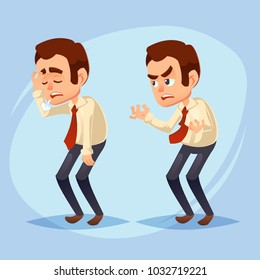 cartoon colorful vector illustration of a handsome young businessman unhappy, dissatisfied, snuffy, sick, stressed Business man character design worker boss manager colorful vector Illustration eps10