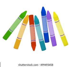 Cartoon colorful wax crayons on isolated background