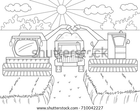 Cartoon Coloring Book Children Autumn Harvesting Stock Vector