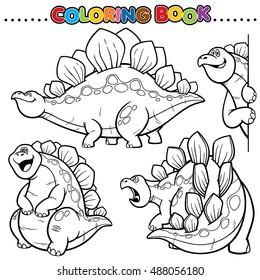Dynosaur Coloring Book Triceratops Pterodactyl Vector De Stock