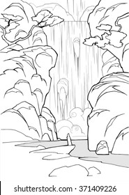 Cartoon coloring book hand drawn mystical winter landscape with waterfall and a lonely figure of a man in cloak meditating