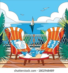 Cartoon coloring composition with two two armchairs on balcony overlooking the sea or ocean vector illustration