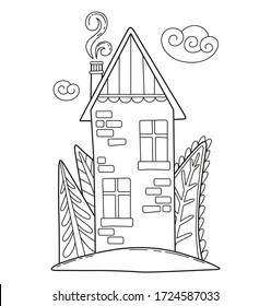 Cartoon coloring page with cute house. Vector illustration