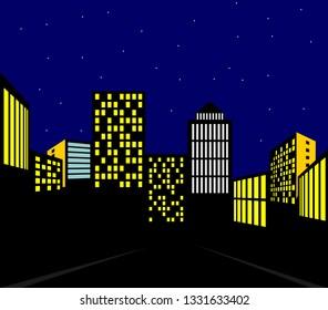 Cartoon comic book cityscape night sky with skyscrapers