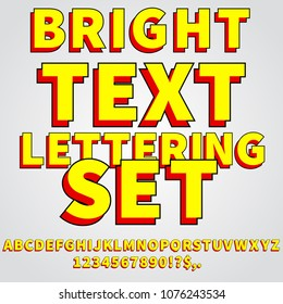 Cartoon comic bright yellow and red style vector lettering set