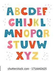 Cartoon comic graffiti doodle alphabet. Vector illustration font. Hand drawn colorful letters.