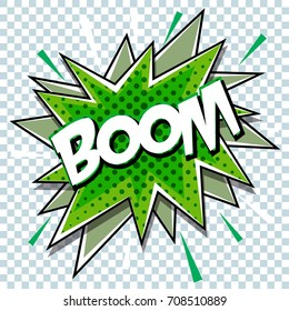 Cartoon comic graphic design for explosion blast dialog box background with sound BOOM.