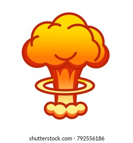 Cartoon comic style nuclear mushroom cloud illustration atomic explosion vector clip art. Linear style atomic blast illustration