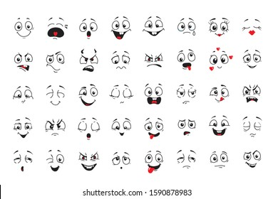 Cartoon comics faces set, Smiling, crying and surprised character face icons. Happy or sad comic emotions collection.