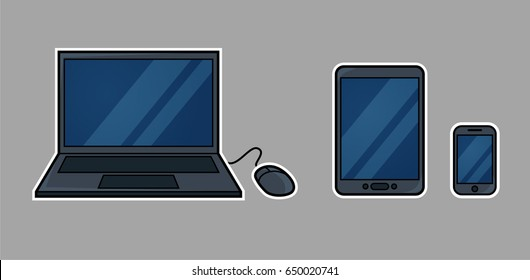 Cartoon of common mobile devices web developers consider: laptop computer, tablet, and phone