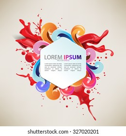 cartoon concept hexagon frame colorful glossy swirls and red ink splash. eps10 vector background