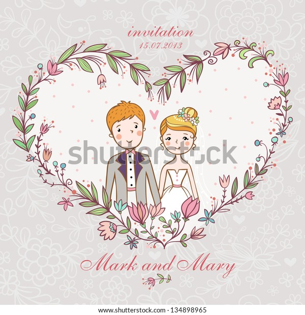 Cartoon concept marriage. Wedding invitation with bride and groom in a flower heart.