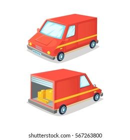 Cartoon concept of transportation truck. Delivery van front and back view . Vector illustration.