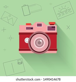 Cartoon concept,Flat design of camera and thin picture icon - vector illustration  vector;business; entrepreneur; creative; photography
