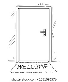 Cartoon conceptual drawing or illustration of closed door with welcome text on mat or doormat.