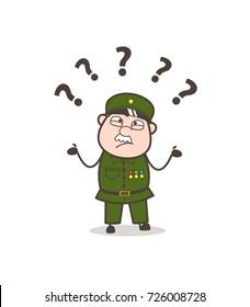Cartoon Confused Sergeant Face Vector Illustration
