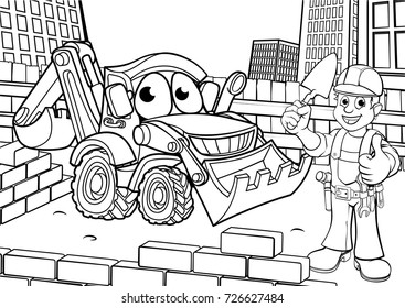 Cartoon construction building site scene with builder and excavator or digger vehicle