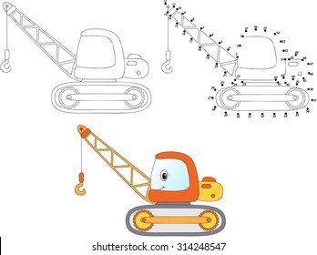 Cartoon construction crane. Vector illustration. Coloring and dot to dot educational game for kids