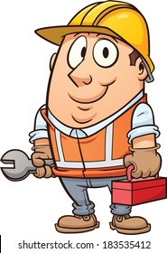 Cartoon construction worker. Vector clip art illustration with simple gradients. All in a single layer.