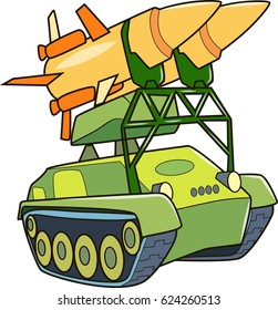 Cartoon contour illustration of a big monster army tank, colorful vector illustration, coloring book for kids.
