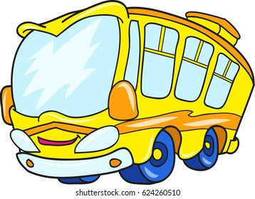 Cartoon contour illustration of a yellow school bus, colorful vector illustration, coloring book for kids.