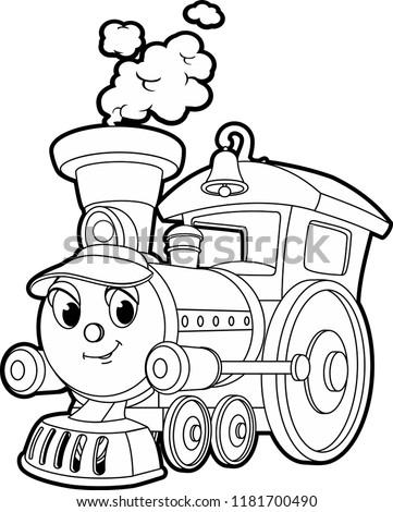 Cartoon Contour Vector Illustration Smiling Train Stock Vector