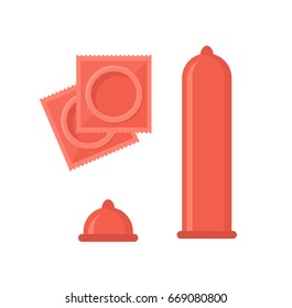 Cartoon Contraception Method Condoms Safe Sex for Man and Fomen Flat Design Style. Vector illustration
