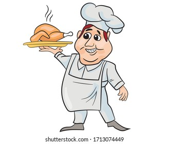 Cartoon cook with baked chicken on a tray in isolate on a white background. Labor Day.  Vector illustration.