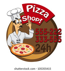 cartoon cook , chef with a  freshly baked pizza. Illustration for pizza shop, pizza box