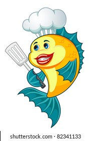 Cartoon cook fish with dishware for cooking concept. Rasterized version also available in gallery