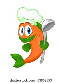 Cartoon cook fish with dishware for cooking concept isolated on white background. Rasterized version also available in gallery