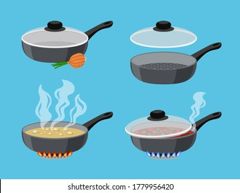 Cartoon cooking pans. Objects for kitchen on flaming gas burner, boiling food in pots, vector illustration of pans on stove with fire isolated on blue background