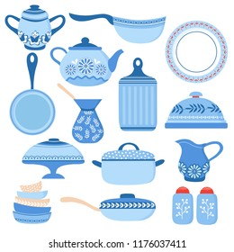 Cartoon cookware. Kitchen crockery and glassware. Dishes, cup and teapot. Cooking tools vector isolated set. Illustration of crockery and cookware