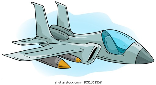 Cartoon cool air Jet Fighter with missiles on blue background. Vector icon