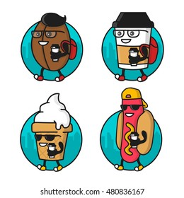 Cartoon cool Coffee bean, paper cup, Hotdog, Ice Cream character. Street food illustration stickers, batches set. Isolated on white background. Logo template design, badge for shop