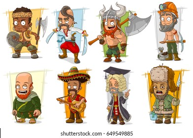 Cartoon cool funny different characters big vector set. Vol 6
