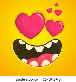 Cartoon cool monster face in love with a heart shaped eyes. Vector Halloween orange monster avatar for St. Valentine's Day