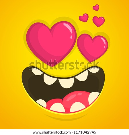 Cartoon Cool Monster Face Love Heart Stock Vector Royalty Free Amazing Heart Cool Love