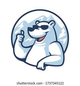 Cartoon Cool Polar Bear Mascot Logo