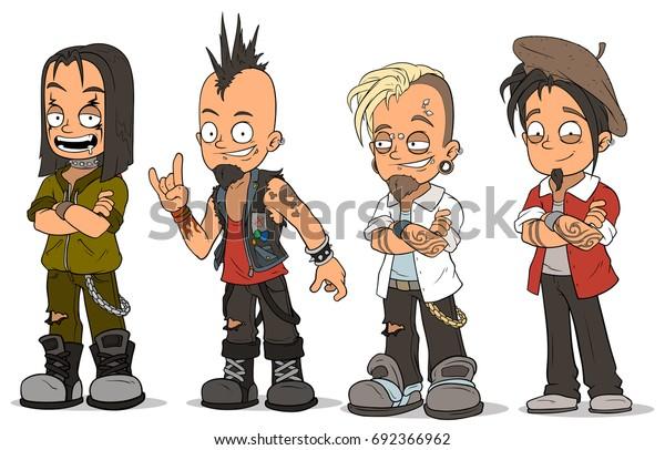 Image Vectorielle De Stock De Dessin Humoristique Punk Rock Gars En 692366962