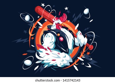 Cartoon cool rooster vector illustration. Cock with red crest in casual vest holding bat flat style concept. Badass bantam character destroying everything around