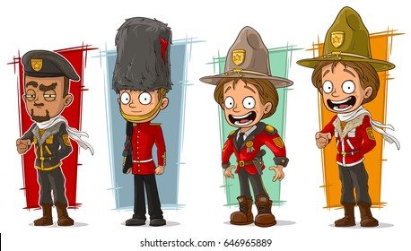 Cartoon cool soldier and rangers in red uniform character vector set
