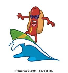 Cartoon Cool Surfing Hotdog Character Vector llustration