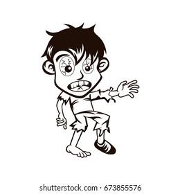 Cartoon cool walking zombie character