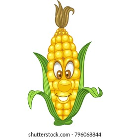 Cartoon Corn character. Sweetcorn cob. Happy Vegetable symbol. Eco Food icon. Emoji expression. Design element for kids coloring book, colouring page, t-shirt print, logo, label, patch or sticker.