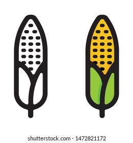 cartoon corn and corn outline set vector image