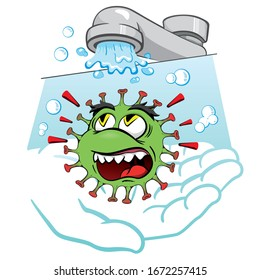Cartoon corona virus, showing the importance of Wash hands, as prevention, Sanitize, sterilize. Ideal for educational and institutional materials