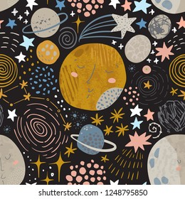 Cartoon cosmic background: cute planets, moon, shooting stars, galaxy, milky way. Cosmos art illustration filld with grunge, doodle, scrabble textures. Kids design for nursery, textile, scrapbooking