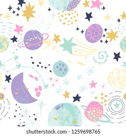 Cartoon cosmic background: cute planets, moon, shooting stars, galaxy, milky way. Cosmos art illustration, grunge, doodle textures. Kids design for nursery